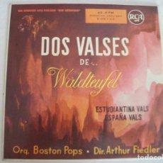 Discos de vinilo: SINGLE DOS VALSES DE WALDTEUFEL , ESTUDIANTINA VALS / ESPAÑA VALS, ORQ BOSTON POPS Y ARTHUR FIEDLER. Lote 244653930