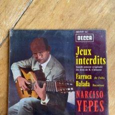 Discos de vinilo: SINGLE EP JEUX INTERDITS, FARRUCA, BALADA // NARCISO YEPES. Lote 244666510