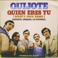 Discos de vinilo: QUIJOTE - QUIEN ERES TÚ / ENERO, FEBRERO, MARZO Y ABRIL SG MOVIEPLAY 1972. Lote 244681370