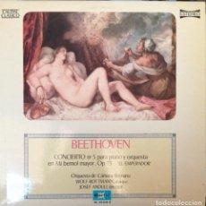 Discos de vinilo: LP VINILO BEETHOVEN CONCIERTO Nº 5 PARA PIANO Y ORQUESTA. Lote 244705515