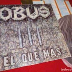 Discos de vinilo: OBUS EL QUE MAS LP 1984 CHAPA DISCOS HEAVY NACIONAL VINILO ORIGINAL. Lote 244714435