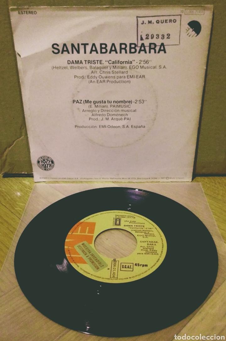 Discos de vinilo: SANTABARBARA - DAMA TRISTE / PAZ SG EMI 1977 - Foto 2 - 244757830