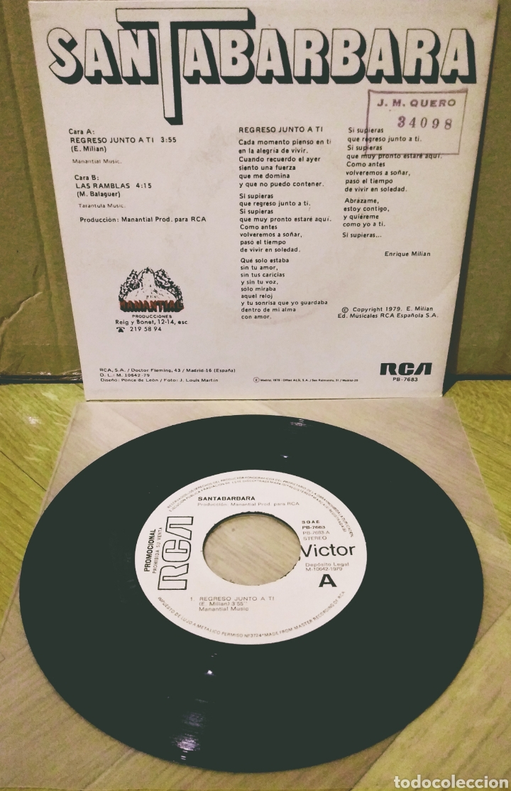Discos de vinilo: SANTABARBARA - REGRESO JUNTO A TI / LAS RAMBLAS SG RCA-Victor 1979 - Foto 2 - 244758255