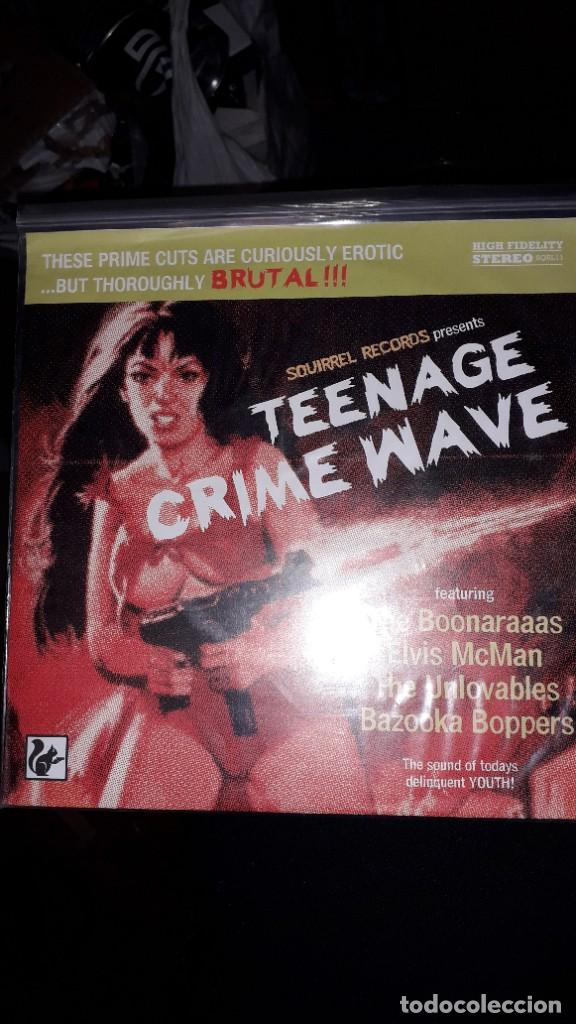 "E.P. 7"" 45 RPM - TEENAGE CRIME WAVE (VARIOUS-GARAGE PUNK ROCK-SQUIRREL RECORDS) (Música - Discos de Vinilo - EPs - Punk - Hard Core)"