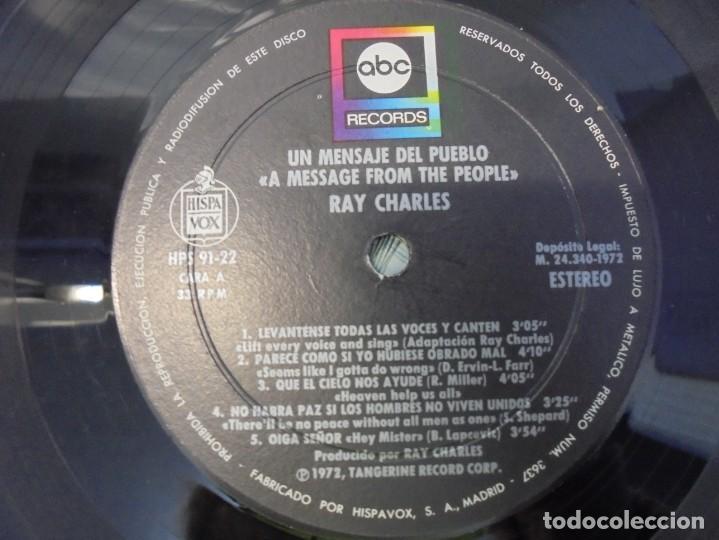 Discos de vinilo: RAY CHARLES. A MESSAGE FROM THE PEOPLE. LP VINILO. HISPAVOX 1972. - Foto 4 - 244847235