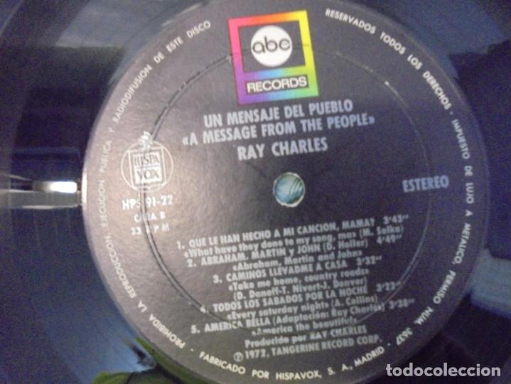 Discos de vinilo: RAY CHARLES. A MESSAGE FROM THE PEOPLE. LP VINILO. HISPAVOX 1972. - Foto 6 - 244847235
