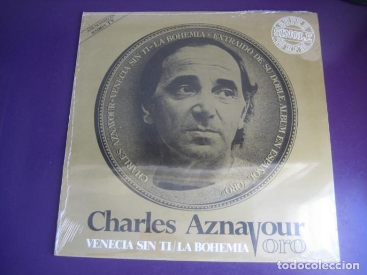 CHARLES AZNAVOUR – VENECIA SIN TI / LA BOHEMIA - MAXI SINGLE MOVIEPLAY 1982 - CHANSON FRANCIA (Música - Discos de Vinilo - Maxi Singles - Canción Francesa e Italiana)