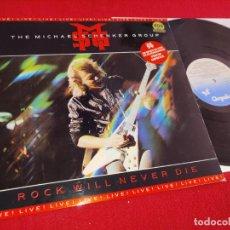 Discos de vinilo: MSG THE MICHAEL SCHENKER GROUP ROCK WILL NEVER DIE LP 1984 CHRYSALIS ESPAÑA SPAIN. Lote 244899695