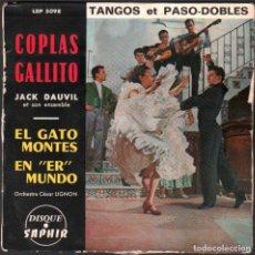 Discos de vinilo: JACK DAUVIL ET SON ENSEMBLE - COPLAS GALLITO / TANGOS ET PASODOBLE / EP SAPHIR RF-4864. Lote 244967950