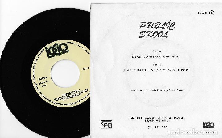 """Discos de vinilo: PUBLIC SKOOL 7"""" SPAIN 45 BABY COME BACK 1981 SINGLE VINILO POP ROCK NEW WAVE EDDY GRANT BUEN ESTADO - Foto 2 - 244973075"""