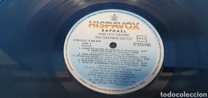 Discos de vinilo: DISCO DE VINILO - RAPHAEL - AYER HOY SIEMPRE SUS GRANDES ÉXITOS - Foto 4 - 244998080