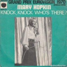 Discos de vinilo: 45 GIRI MARY HOPKIN KNOCK.KNOCH, WHO'S THERE ? GRAND PRIX EUROVISION 1970 APPLE 26 FRANCE. Lote 245058810