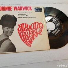 Discos de vinilo: DIONNE WARWICK – ANYONE WHO HAD A HEART + 3 EP SPAIN 1964 VG+/VG++. Lote 245080780