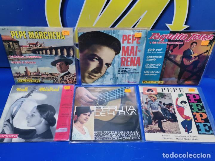 LOTE 6 EPS 7´´ VINILOS SINGLES PERLITA DE HUELVA-PEPE MARCHENA-PAQUITO JEREZ Y MAS (Música - Discos de Vinilo - EPs - Otros estilos)