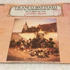 Discos de vinilo: SINGLE FRANCO BATTIATO DEL ALBUM GIUBBE ROSSE - CARTA AL GOBERNADOR DE LIBIA - PEDIDOS MINIMO 7€. Lote 245195500