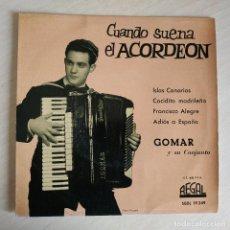 Discos de vinilo: GOMAR Y SU CONJUNTO - CUANDO SUENA EL ACORDEON - ISLAS CANARIAS / COCIDITO MADRILEÑO + 2 EP DE 1960. Lote 245391225