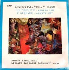 Discos de vinilo: EMILIO MATEU&LUCIANO GONZALEZ SARMIENTO SONATAS HINDEMITH+GERHARD LP 1982 ETNOS. Lote 245392045