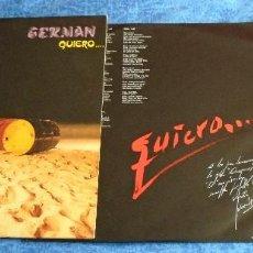 Discos de vinilo: GERMAN SPAIN LP 1984 QUIERO... ELECTRO POP SYNTH POP ITALO DISCO INSERT + PRENSA +LETRAS BUEN ESTADO. Lote 245440320
