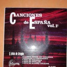 Discos de vinilo: CANCIONES DE ESPAÑA VOL 1º. 5 JOTAS DE ARAGON. SINTONIA 1967. Lote 245460720