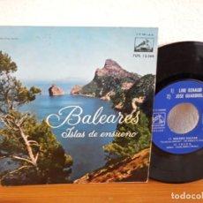 Discos de vinilo: EP - BALEARES ISLAS DE ENSUEÑO - CON JOSÉ GUARDIOLA, LINE RENAUD, ETC - LA VOZ DE SU AMO (1961). Lote 245589900