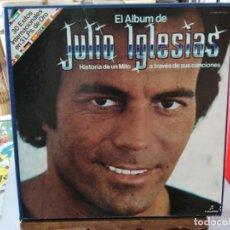 Discos de vinilo: EL ALBUM DE JULIO IGLESIAS, HISTORIA DE UN MITO A TRAVÉS DE SUS CANCIONES - TRIPLE LP. COLUMBIA. Lote 245640810