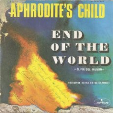 Discos de vinilo: APHRODITE'S CHILD - END OF THE WORLD / YOU ALWAYS STAND IN MY WAY (SINGLE ESPAÑOL, MERCURY 1968). Lote 245653885