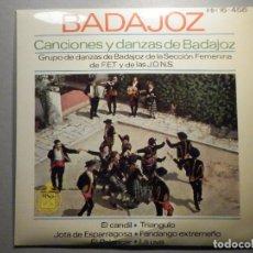 Discos de vinilo: BADAJOZ CANCIONES Y DANZAS - EL CANDIL, SECCIÓN FEMENINA FALANGE F.E.T.DE LAS J.O:N.S, HISPAVOX 1963. Lote 245745770