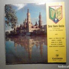 Discos de vinilo: CORAL SANTA CECILIA DE ZARAGOZA - HIMNO A LA VIRGEN DEL PILAR - BENDITA Y ALABADA - COLUMBIA 1960. Lote 245746165