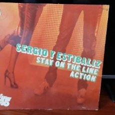 Discos de vinilo: SERGIO Y ESTIBALIZ. STAY ON THE LINE ACTION. MAXI-SINGLE, ZAFIRO 1979. VINILO ROJO. Lote 245925690