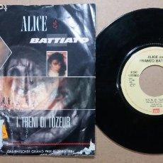 Discos de vinilo: ALICE AND FRANCO BATTIATO / I TRENI DI TOZEUR / SINGLE 7 PULGADAS. Lote 245940705
