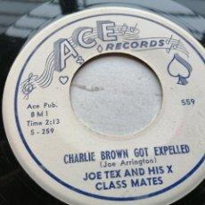 Discos de vinilo: JOE TEX AND HIS X CLASS MATES – CHARLIE BROWN GOT EXPELLED SINGLE USA 1958 EX. Lote 245956975