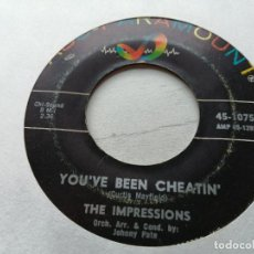 Discos de vinilo: THE IMPRESSIONS ‎– YOU'VE BEEN CHEATIN' SINGLE USA 1965 VG. Lote 245971945