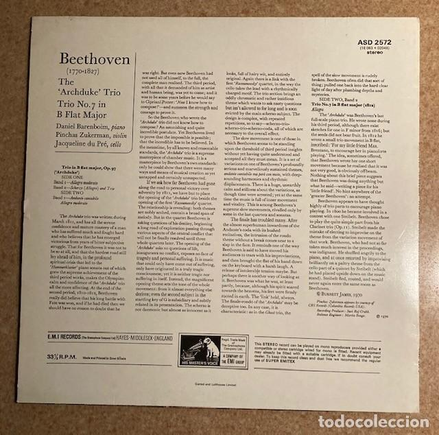 Discos de vinilo: BAREMBOIM, ZUKERMAN, DU PRE - BEETHOVEN - THE ARCHDUKE TRIO - Foto 2 - 245987505