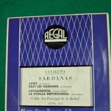 Disques de vinyle: SARDANAS. JUNY + 3. COBLA LA PRINCIPAL DE LA BISBAL. EP REGAL. Lote 246064015