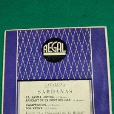 Disques de vinyle: SARDANAS. LA SANTA ESPINA + 3. COBLA LA PRINCIPAL DE LA BISBAL. EP REGAL. Lote 246066130