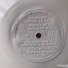Discos de vinilo: FLEXI DISC. COLECCIÓN ESPAÑA EN PAZ. MÚSICA DE ANDALUCÍA. I. TARANTOS. II. ROMANCE EN COPLAS. Lote 246207460