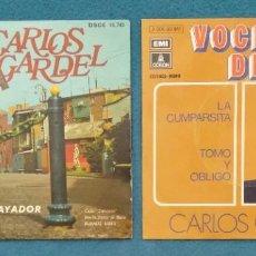 Discos de vinilo: LOTE VINILOS CARLOS GARDEL : LA CRIOLLA, DESDÉN, LA PENA DEL... + LA CUMPARSITA, TOMO Y OMBLIGO. Lote 246260240