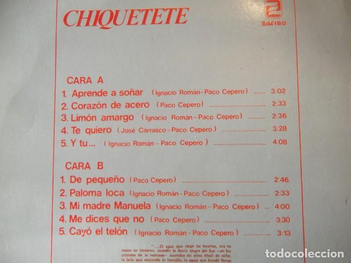 Discos de vinilo: Disco LP CHIQUITETE Aprende a soñar - Foto 2 - 246289080
