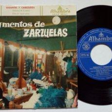 Discos de vinilo: SG: ANA Mª IRIARTE, CARLOS MUNGUÍA, ORFEON DONOSTIARRA - GIGANTES Y CABEZUDOS - ZARZUELA. Lote 246307575