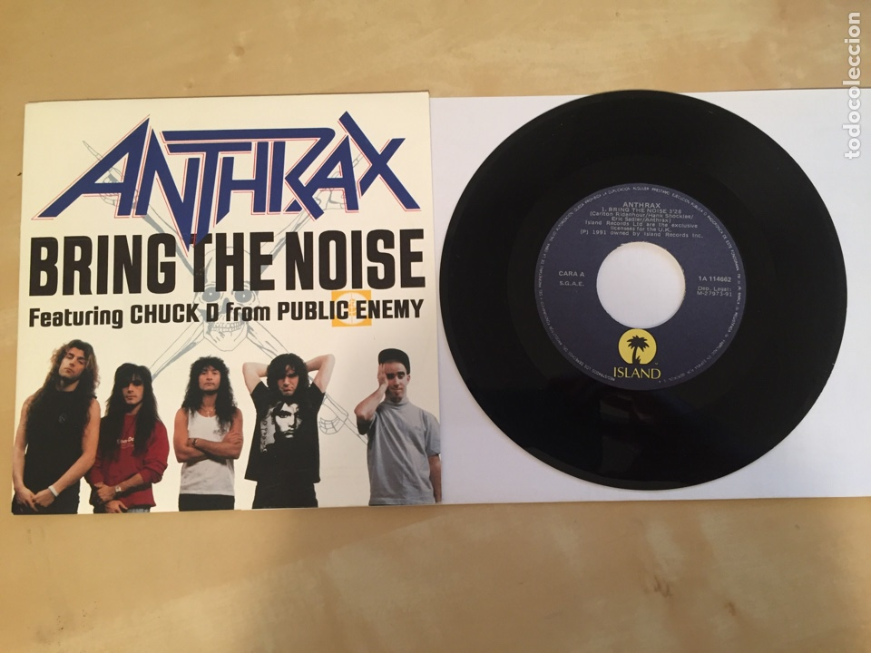 "ANTHRAX - BRING THE NOISE - RADIO PROMO SINGLE 7"" - 1991 ESPAÑA (Música - Discos - Singles Vinilo - Heavy - Metal)"