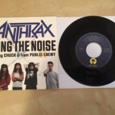 "Discos de vinilo: ANTHRAX - BRING THE NOISE - RADIO PROMO SINGLE 7"" - 1991 ESPAÑA. Lote 246353015"