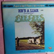 "Discos de vinilo: 12"" BEE GEES – HE'S A LIAR = ES UN MENTIROSO - RSO 21 41 429 - SPAIN PRESS - MAXI (EX/EX+). Lote 246536280"