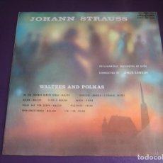 Disques de vinyle: STRAUSS - VALSES Y POLKAS - JANOS SANDOR - LP HUNGAROTON - SIN USO. Lote 246561940