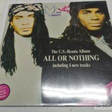 Discos de vinilo: MILLI VANILLI: ALL OR NOTHING. THE U.S. REMIX ALBUM, LP ARIOLA 209 979, SPAIN, 1989.GATEFOLD.. Lote 246598435