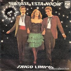 """Discos de vinilo: ESPAÑA 1980. EUROVISIÓN. """"QUÉDATE ESTA NOCHE"""" - TRIGO LIMPIO. Lote 246598610"""