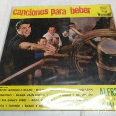Discos de vinilo: CANCIONES PARA BEBER. ALFREDO Y SUS AMIGOS . LP PHILIPS CON ENCARTE LETRAS. Lote 246602025