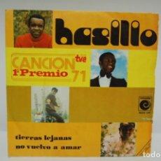 Discos de vinil: BASILIO - TIERRAS LEJANAS 1º PREMIO CANCION 1971 TVE SINGLE 1971. Lote 246770795