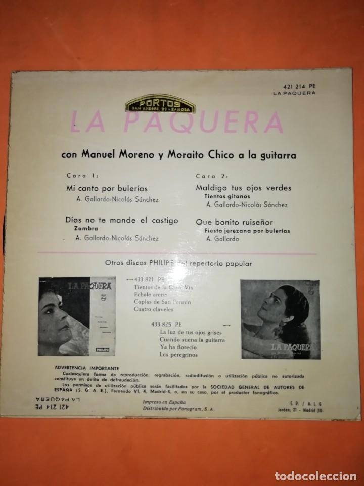 Discos de vinilo: LA PAQUERA CANTA. MI CANTO POR BULERIAS. PHILIPS 1958 - Foto 2 - 246960670