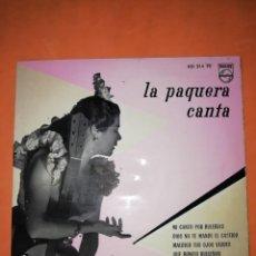 Discos de vinilo: LA PAQUERA CANTA. MI CANTO POR BULERIAS. PHILIPS 1958. Lote 246960670