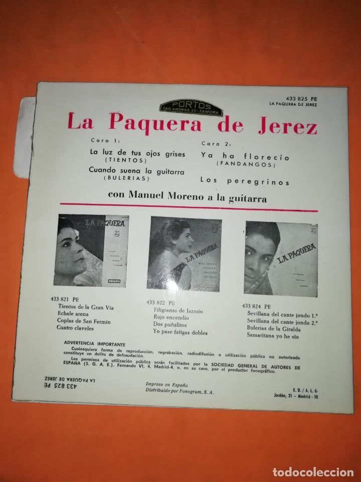Discos de vinilo: LA PAQUERA. CON MANUEL MORENO A LA GUITARRA. PHILIPS. 1962 - Foto 3 - 246962400